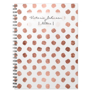 Stylish rose gold polka dots brushstrokes pattern notebook