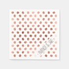 Stylish rose gold polka dots brushstrokes pattern paper napkin