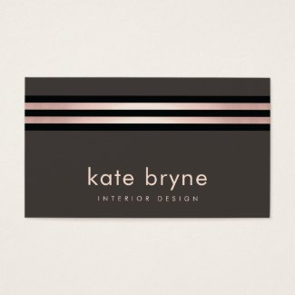 Stylish Rose Gold Striped Modern Interior Designer Business Card