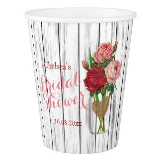 Stylish Rose Mason Jar Bridal Shower Design Paper Cup