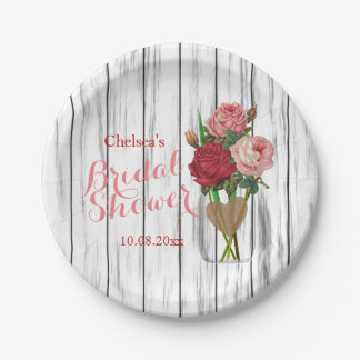 Stylish Rose Mason Jar Bridal Shower Design Paper Plate