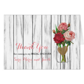 Stylish Rose Mason Jar Design Card