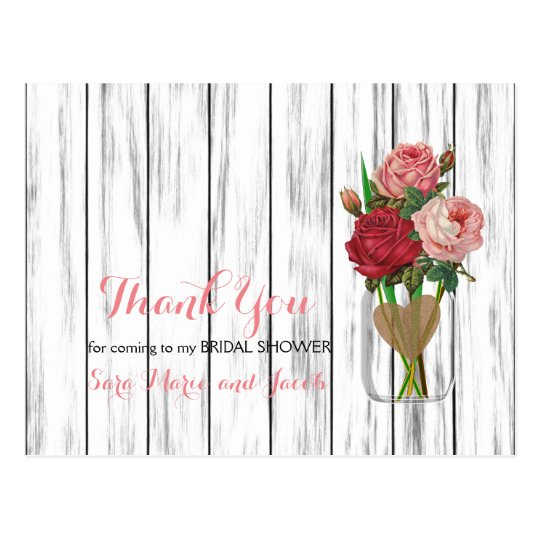 Stylish Rose Mason Jar Design Postcard