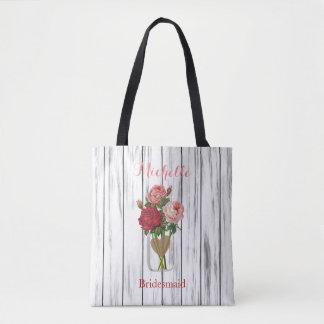 Stylish Rose Mason Jar - Team Bride Tote Bag