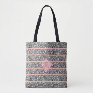 Stylish Rose Silver Glitter Straps Monogrammed Tote Bag