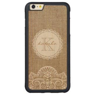 Stylish Rustic Burlap Ivory Lace Pattern Monogram Carved Maple iPhone 6 Plus Bumper Case