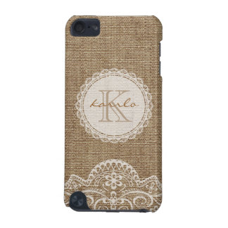 Stylish Rustic Burlap Ivory Lace Pattern Monogram iPod Touch 5G Cover