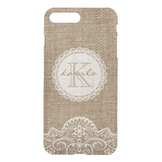 Stylish Rustic Country Burlap Ivory Lace Monogram iPhone 8 Plus/7 Plus Case