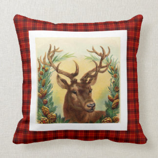 Stylish Rustic deer traditional Christmas Pattern Throw Pillow
