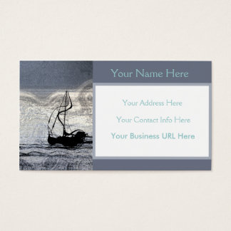 Stylish Sailboat Blue Ocean Abstract Sailing Business Card