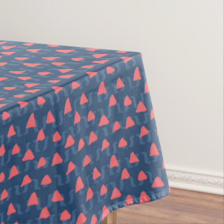 Stylish salmon and blue colored geometric shaped tablecloth
