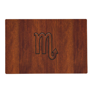 Stylish Scorpio Zodiac Symbol in Mahogany Laminated Placemat