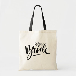 Stylish script typography wedding bride tote bags
