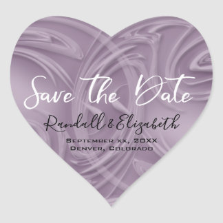 "Stylish Shades of Purple Strokes ""Save the Date"" Heart Sticker"