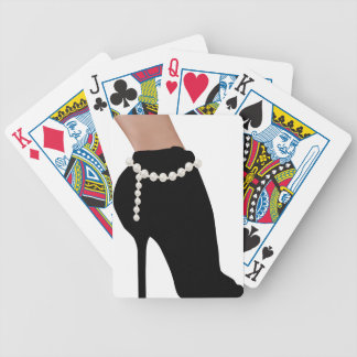 stylish silhouette beautiful woman shoes high heel bicycle playing cards