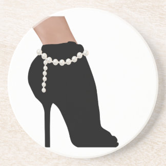 stylish silhouette beautiful woman shoes high heel coaster