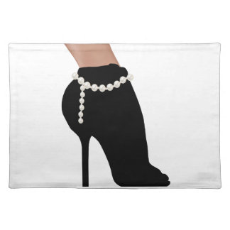 stylish silhouette beautiful woman shoes high heel placemat