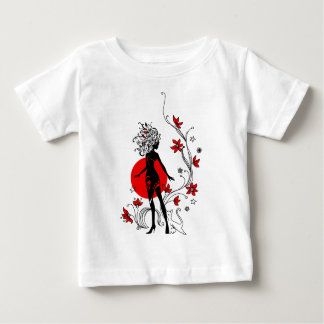 Stylish silhouette of elegant woman with sweet cat baby T-Shirt