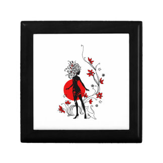 Stylish silhouette of elegant woman with sweet cat gift boxes