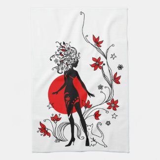 Stylish silhouette of elegant woman with sweet cat hand towels