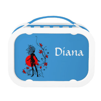 Stylish silhouette of elegant woman with sweet cat lunchboxes