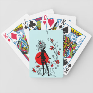 Stylish silhouette of elegant woman with sweet cat poker deck