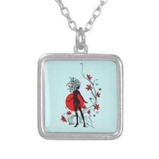 Stylish silhouette of elegant woman with sweet cat silver plated necklace