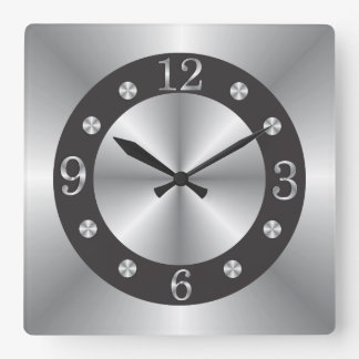 Stylish Silver And Black Square Wall Clock