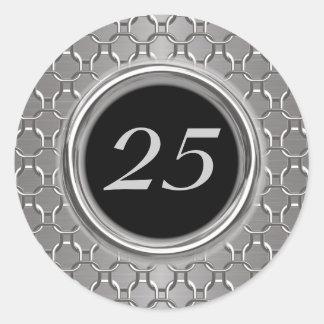 Stylish Silver & Black 25th Wedding Anniversary Classic Round Sticker