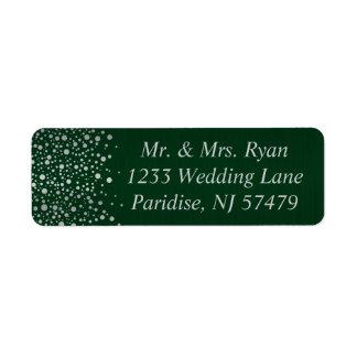 Stylish Silver Confetti Dots | Dark Green Return Address Label
