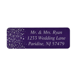 Stylish Silver Confetti Dots | Dark Purple Return Address Label