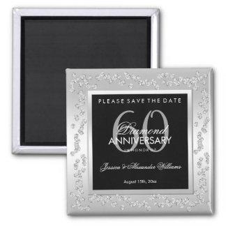 Stylish Silver Diamonds 60th Wedding Anniversary Magnet