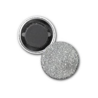 Stylish Silver Glitter Glitz Photo 1 Inch Round Magnet