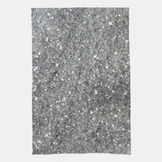 Stylish Silver Glitter Glitz Photo Kitchen Towel