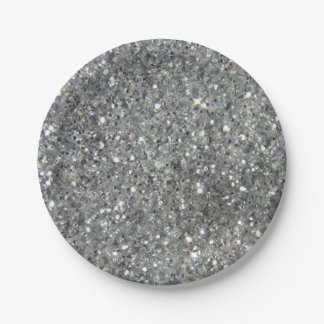 Stylish Silver Glitter Glitz Photo Paper Plate
