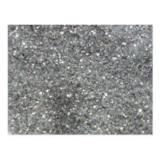 Stylish Silver Glitter Glitz Photo Postcard