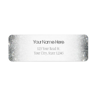 Stylish Silver Glitter Glitz Photo Return Address Label