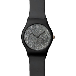 Stylish Silver Glitter Glitz Photo Wrist Watch