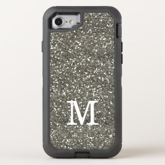 Stylish Silver Glitter Monogrammed OtterBox Defender iPhone 7 Case