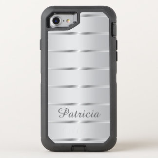 Stylish Silver Gray Stripes OtterBox Defender iPhone 7 Case