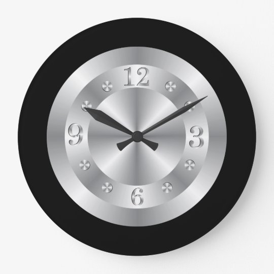 Stylish Silver Grey And Black Large Clock