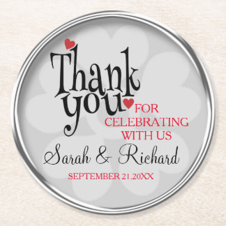 Stylish Silver Grey Wedding Thank You Round Paper Coaster