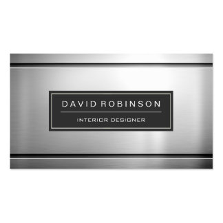 Stylish Silver Metal in Stainless Steel Look Pack Of Standard Business Cards