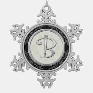 Stylish Silver Monogram  B Christmas Pewter Snowflake Ornament