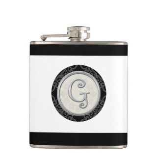 Stylish Silver Monogram Initial G Hip Flask