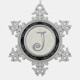 Stylish Silver Monogram  J Christmas Pewter Snowflake Ornament