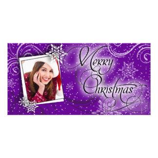 Stylish Snow Purple Glow Christmas Photo Card
