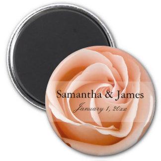 Stylish Soft Orange Rose Personal Wedding Magnet