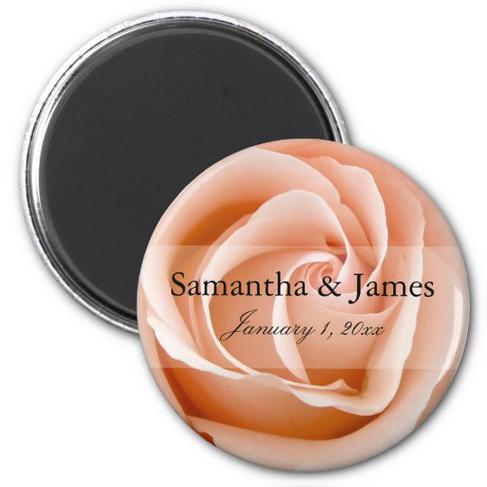 Stylish Soft Orange Rose Personal Wedding Magnet