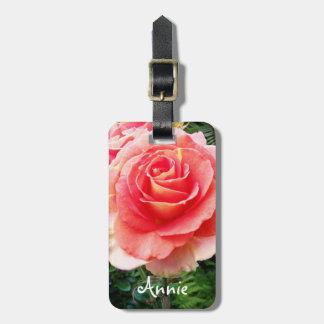 Stylish, soft pink rose close-up photo custom name luggage tag